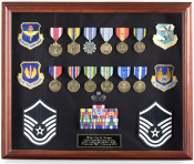 Large Medal Display case -Exquisite cherry finish. Shadowbox display case includes reversible black/blue Velcro-friendly insert for easy display of personal items.