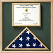 Flag and certificate Combination Box - Flag / Certificate Display