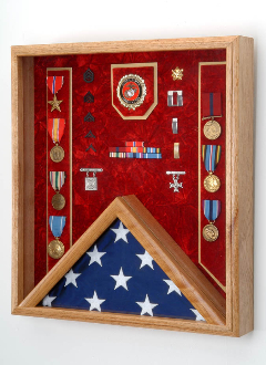 Memorial Flag and Medal Display Case Shadow Box Our Military flag and medal display case is made of finely crafted wood with an elegant
