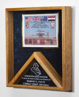Large Memorial Flag and certificate Display Case Shadow Box Our Military flag and medal display case is made of finely crafted wood with an elegant