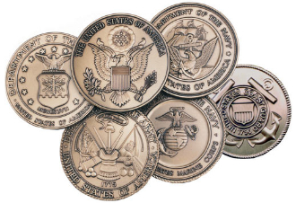 Brass Service medallions compliment any of our flag cases, display cases and most of our pedestals. They can also be used to decorate an urn or any item with a smooth flat surface.