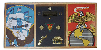 3 Bay Military Shadow Box, military flag display box
