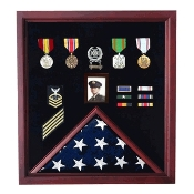 Flag Photo Display Case with Badge Display Case