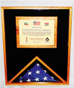 Military Memorial Flag Medal and Certificate Display Case