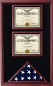 2 Awards and flag display case display Case