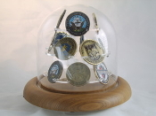challenge coin display, Coin Display Glass Dome for challenge Coin