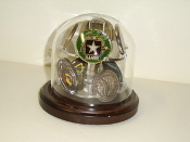Glass Dome Coin Display Holds 16 military coins
