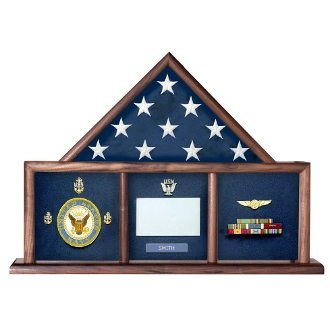 wood 3ft X 5ft Flag Memorial Case - Three Bay shadowbox