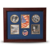 5 Picture Collage Frame American Flag Medallion, Patriotic Collage Frame