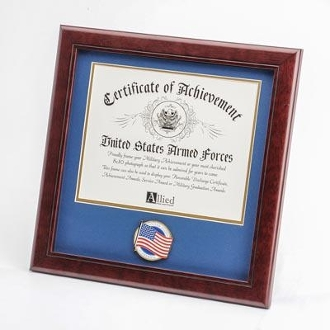 8 by 10 American Flag Medallion Certificate Frame