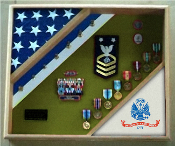 US Army Shadow Box, US Army flag display case, Flag and medal display case, Army flag and medals display