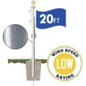 Commercial Grade Sectional 20ft. Flagpole - Satin Finish