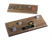 Coin Display Rack With 6 Rows, Walnut Wood, Holds up to 36 Coins