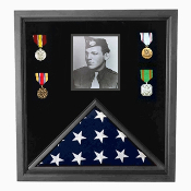 Flag and photo Case, Flag and medal Case - Black Frame, American Made