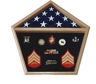 Pentagon Military Shadow Box, Pentagon Military Flag Display Case