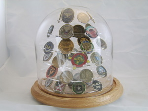 Coin Displays, Military coin Holder, challenge coin frame, Glass Dome Coin Display, 104 Challenged Coin display