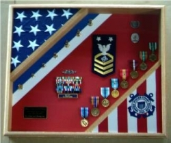 Flag Shadow Box, American flag display case, Flag and medal display case, Marine corps flag and medals display