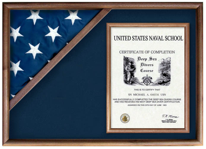 large case certificate 5x95 flag