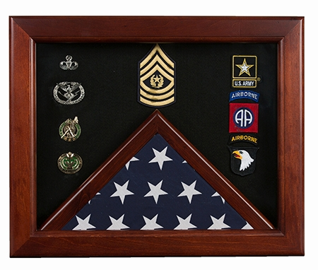 Military Flag medal display case Mahogany wood 3x5 flag