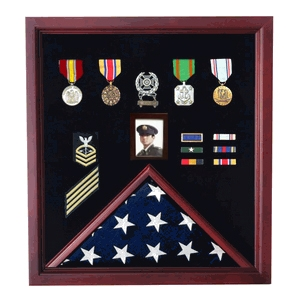 Flag and photo display case, Personalized  flag display case