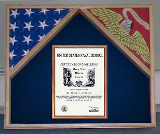 Marine Corps 2 flags and certificate
