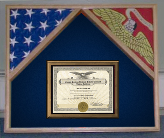 Marine 2 flags and certificate display frame