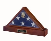 Burial Display Flag Case + Pedestal Our American Made Walnut Flag Case Pedestal / Urn Combination is a beautiful way to memorialize your loved one who served the Armed Forces.