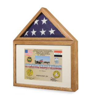 Large Flag Military Medals Display Case Cabinet