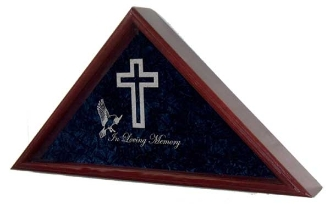 Large Flag Display Case With Engraved Symbols of Faith