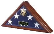 Flag Display Case with Front Opening Available in Heirloom Walnut or Cherry Finish Embossed With or Without The Great Seal of the United States
