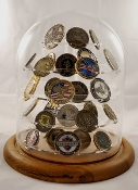 Challenge coin display, Glass Dome Coin Display for 62 Coins