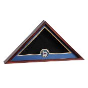 Mahogany wood flag display case, USCG flag case