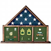 THREE BAY MANTLE CASE, american flag and medal cases