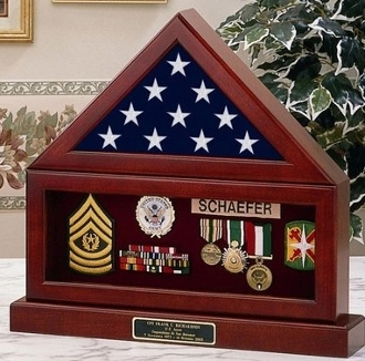 Flag Display Case , Flag Medal and Base