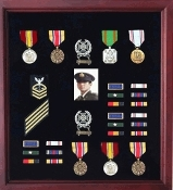 Officers Medal Display Case Plus Photo shadowbox, Military Frame, Officers Display Case, Photo for Military Flag Case The Officers Display Case AND Photo is Great as Burial display case, Military display case, Veteran Display Case