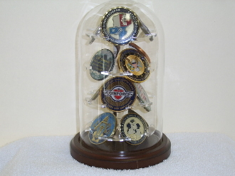 Military Glass Dome Display, 12 Coins Display Glass Dome