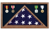 Walnut 5 X 9.5 Flag Memorial Case - Rectangle, Burial Flag Frame