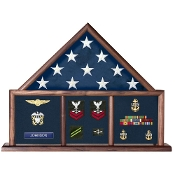 Three Bay Flag Memorial Case - Walnut wood for Casket Flag