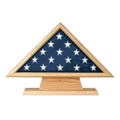 Flag Memorial Case on Pedestal with Engraved Plate