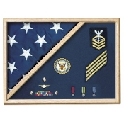Oak 5 X 9.5 Flag Memorial Case - Folded Corner flag case