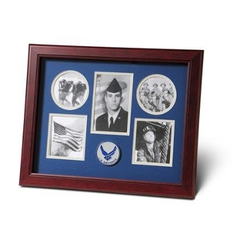 5 Picture Collage Aim High Air Force Medallion Frame