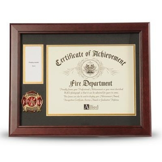 Firefighter Medallion Certificate and Medal Frame