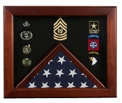Military Flag medal display case, Mahogany wood for 3x5 flag