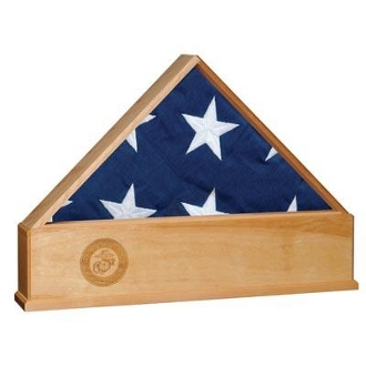 Flag Display Case with Engraved Marine Corps Emblem