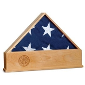 Oak US Flag Display Case with Engraved Navy Emblem