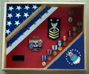 US Air Force Shadow Box, USAF flag display case, Flag and medal display case, Air Force flag and medals display