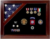 Flag Display Case American Flag Box Burial Flag Case, Military Award Shadow Box with Display Case for 3 x 5ft Flag