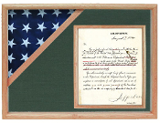 Oak Shadow box to hold a 3'X5' flag with 8.5'x11' certificate