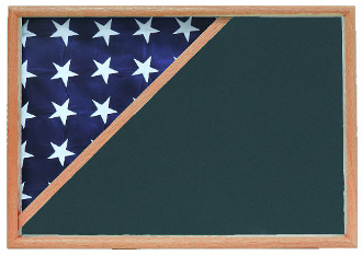 Shadow box to hold a 5' X 9.5' flag, Oak Finish