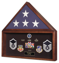 Large Flag and Military Medals Display Case